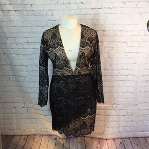 C Russe blk lace over nude deep V body con dress